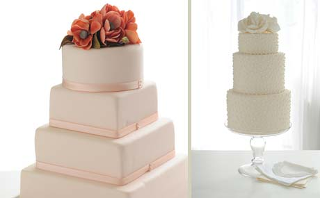 Wedding Cake with Roses and White Flower Wedding Cake